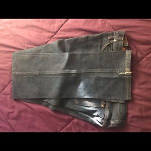 Heavy starched wranglers